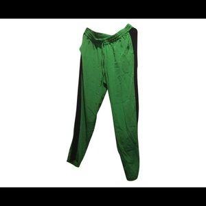 Silk Tuxedo Stripe Green Navy Pants M New